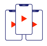 Mobile phone icon. Playback Live Partners